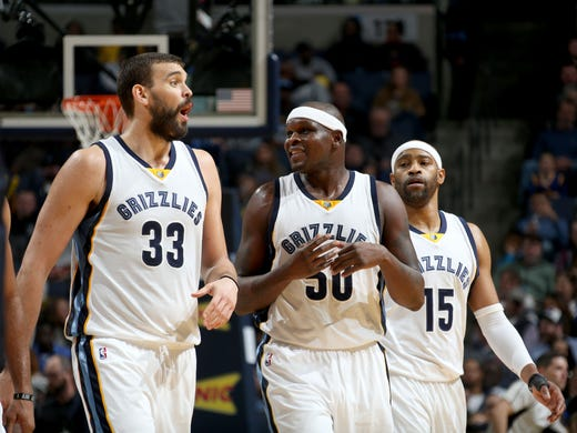 Memphis Grizzlies Marc Gasol, Zach Randolph and Vince