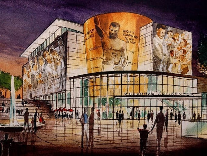 An early artist's rendering of the Muhammad Ali Center.