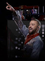 Justin Timberlake performs during halftime of the NFL Super Bowl 52 football game between the Philadelphia Eagles and the New England Patriots Sunday, Feb. 4, 2018, in Minneapolis.