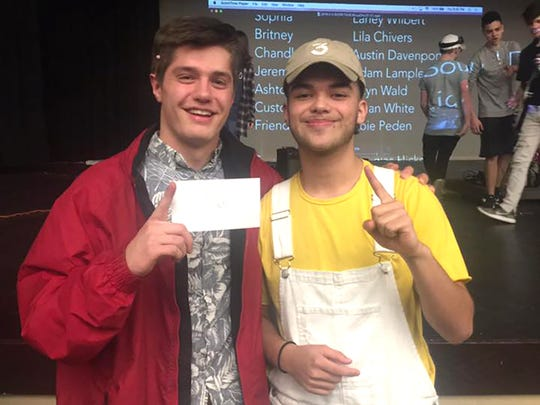 Tanis Beique (right) and Spencer Flake after winning the Fairview High School Talent Show.
