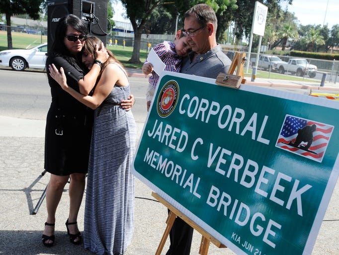The South Giddings Avenue overcrossing on Highway 198 was designated as the Corporal Jared Verbeek Memorial Bridge on Saturday. Assembly Republican Leader Connie Conway of Tulare authored Assembly Concurrent Resolution 129, which made the designation. In 2011, Verbeek died from injuries suffered when he stepped on an improvised explosive device while serving in the U.S. Marines in Helmand Province, Afghanistan. He was 22.