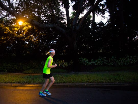 Sam Johnston, 75, runs near his neighborhood on Tuesday, September 5, 2017 in North Naples. Johnston runs every morning and just eclipsed the 40-year mark of running everyday without taking a day off as verified by the United States Running Streak Association.