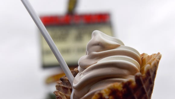 A marble waffle cone with vanilla and chocolate twist