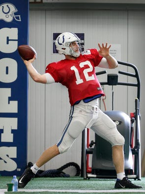 Indianapolis Colts quarterback Andrew Luck (12) was