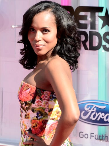 Best Actress winner Kerry Washington arrives for the 2014 Black Entertainment Television (BET) Awards on June 29, in Los Angeles, Calif.