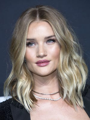 Rosie Huntington-Whiteley at the Saint Laurent show on Feb. 10, 2016 at The Hollywood Palladium in Los Angeles, Calif.