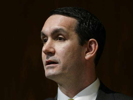 In this Jan. 15, 2013, Pennsylvania Auditor General Eugene DePasquale is seen in Harrisburg, Pa. DePasquale said Friday, Feb. 22, 2019, that officials in 18 of 67 counties reported accepting gifts, meals or trips from firms competing to sell new voting machines ahead of the 2020 elections.