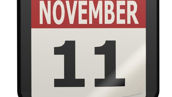 November 11, Veterans Day calendar