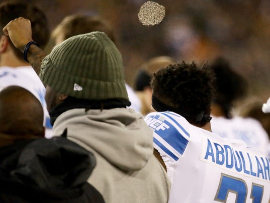 Detroit Lions atGreen Bay Packers, national anthem protest