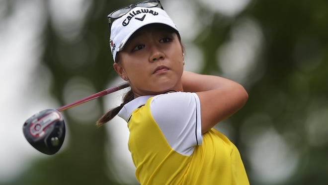 Lydia Ko of New Zealand hits her tee shot on the second hole during the final round of the U.S. Women's Open at Lancaster Country Club.