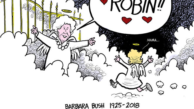 Barbara Bush was buried Saturday, April 21, 2018, in College Station, Texas, near her daughter Robin, who died at 3 from leukemia.