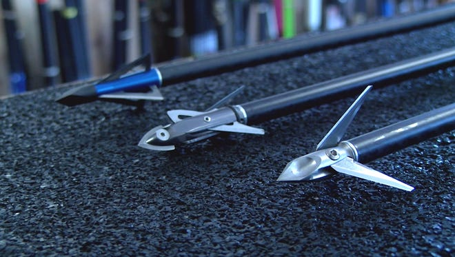A fixed (left), mechanical (middle) and hybrid (right) broadhead displayed at Xtreme Archery in East York.