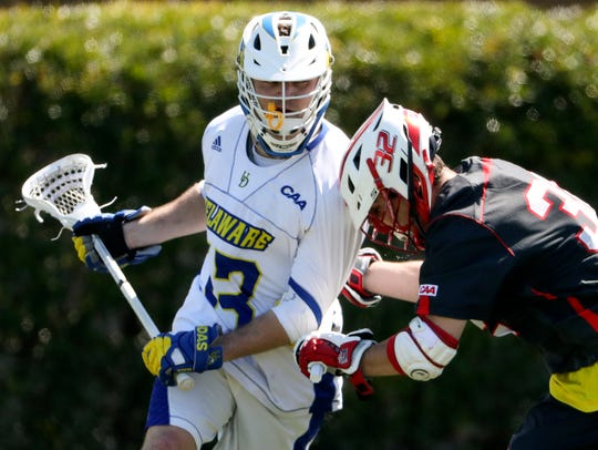 Delaware's Dean DiSimone in a March 31 game against Fairfield at Delaware Stadium.