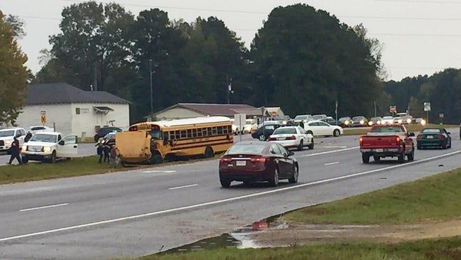 The scene of the Monday morning crash involving a Vernon Parish school bus.