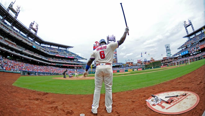 Philadelphia Phillies first baseman Ryan Howard on deck against the St. Louis Cardinals at Citizens Bank Park. Howard and Carlos Ruiz cleared waivers and could be traded before the Aug. 31 waiver deadline.