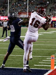 New Mexico State wide receiver Jaleel Scott (16) in