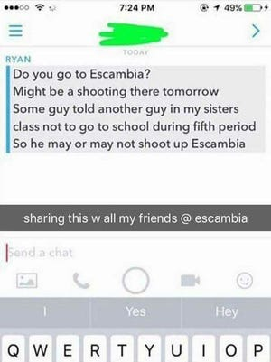 The screenshot that was circulating among Escambia High School parents and students Tuesday night.