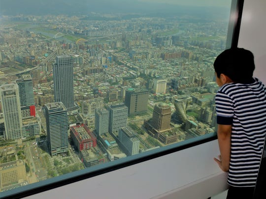 A youngster enjoys the view of the city skyline from