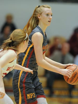 McCutcheon sophomore Olivia Downden works the baseline in game two of the J&C Hoops Classic Monday night.