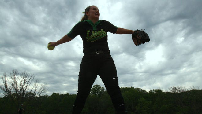 Although she did not start, Ursuline senior pitcher Kristyn Aiello threw around at Bicentennial Park before a softball game against Mercy.