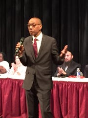 Dennis Walcott, former New York City schools chancellor, explains his approach as East Ramapo's lead monitor on Thursday to the crowd that packed Rockland Community College Cultural Arts Theater.