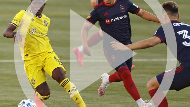 In this file photo Columbus Crew SC midfielder Darlington Nagbe (6) takes on Chicago Fire midfielder Gaston Gimenez (30) during the 1st half of their game at MAPFRE Stadium in Columbus, Ohio on August 20, 2020. The game was held without any fans in the stadium.