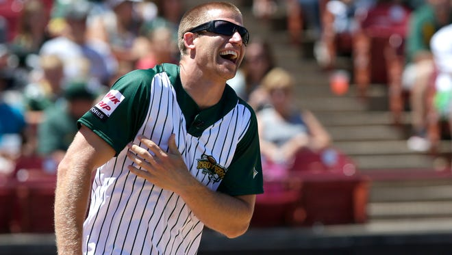 Green Bay Packers Jordy Nelson enjoys himself during the Jordy Nelson Charity Softball Game at Neuroscience Group Field at Fox Cities Stadium.