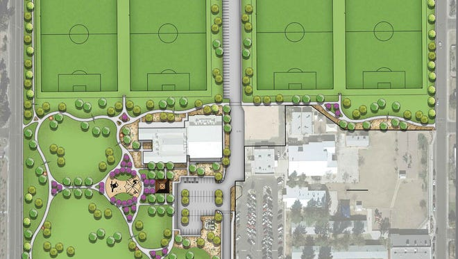 A rendering of the Eagles Park and Community Center Mesa plans to build on the site of the closed Mesa Junior High School.