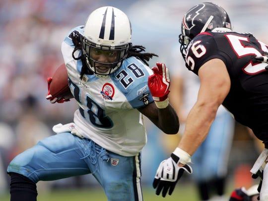 Titans running back Chris Johnson (28) runs for good yardage against the Texans on Sept. 20, 2009, at LP Field.
