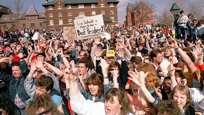 Deaf President Now protest at Gallaudet University in Washington, D.C. on March 7, 1988