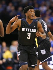Butler Bulldogs guard Kamar Baldwin (3) reacts during