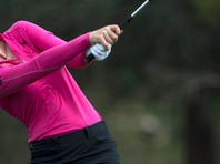 Cristie Kerr of Miami hits the ball on the ninth tee during the third round of the LPGA CME Group Tour Championship at Tiburon Golf Club at the Ritz-Carlton Golf Resort in Naples, Saturday (11/21/15). Kerr is tied with Ha Na Jang for first place shooting 13 under. The final round is Sunday.