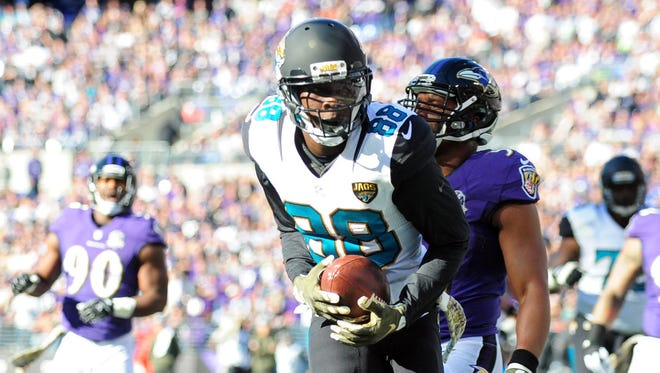 Jacksonville Jaguars wide receiver Allen Hurns (88) scores a touchdown in the first quarter against the Baltimore Ravens at M&T Bank Stadium.