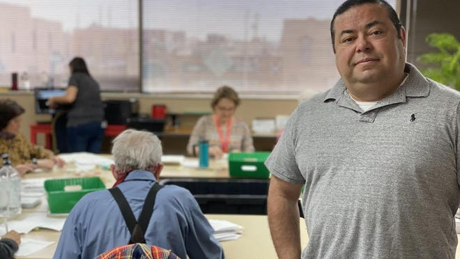 """Pueblo County Clerk and Recorder Gilbert """"Bo"""" Ortiz pictured here in March, says access to registering to vote is very easy in Pueblo County and throughout the state of Colorado."""
