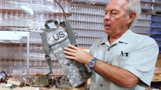 Kenn Visser, VP of Sales and Marketing at Water One in Fort Myers, talks about their new Pure2Go purifier products and how they will be useful for the military on June 24, 2016. (Erica Brechtelsbauer/Staff)