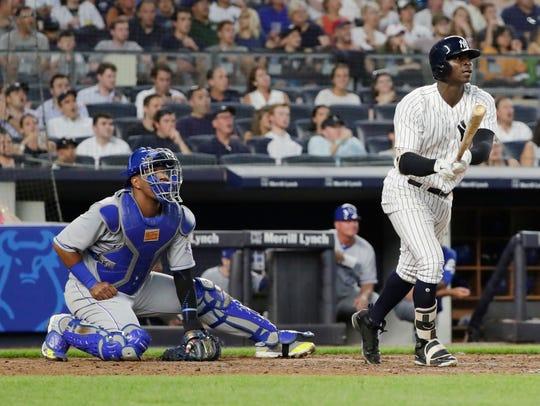 New York Yankees' Didi Gregorius watches his three-run