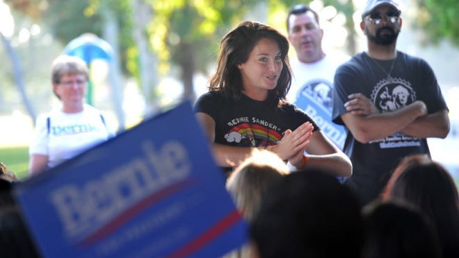 JOSEPH A. GARCIA/THE STAR Actress Shailene Woodley makes an appearance during a 'Potluck For Bernie' event at Rancho Tapo Community Park in Simi Valley on Tuesday evening.