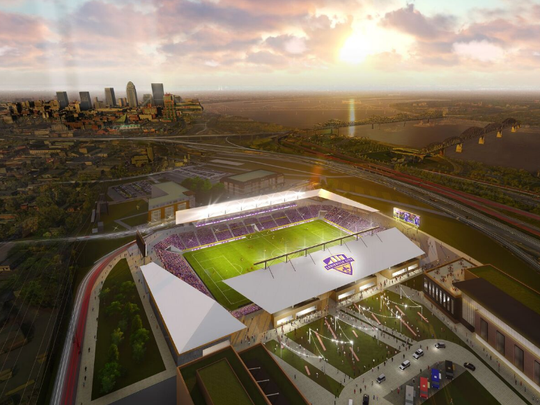 Architecture firm HOK's rendering of the planned Louisville City FC's soccer stadium in Butchertown.