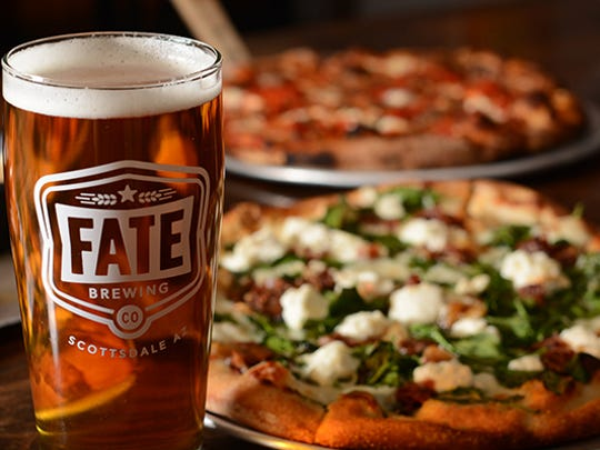 Fate Brewing in Scottsdale offers a variety of food options such as pizza, burgers and other small bites.