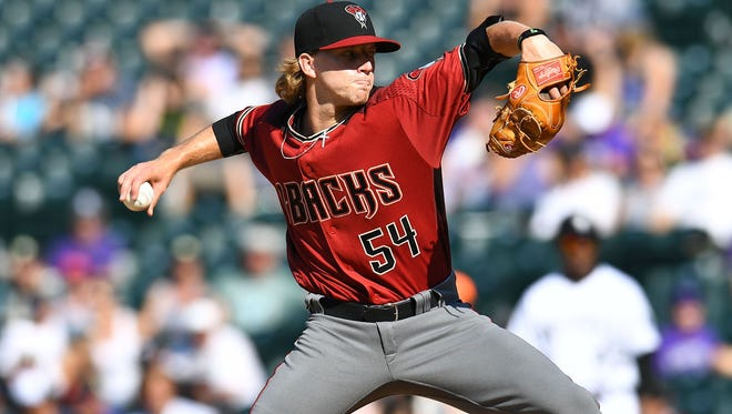 Diamondbacks pitcher Jimmie Sherfy has yet to give up a hit, run or walk in five innings pitcher in his four outings this year.