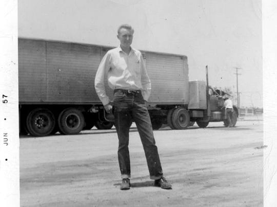 Jerry Nash in Deming in 1957 when he trucked in a brand new Diamond T rig.
