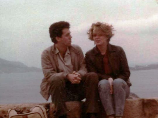 Tim Turinsky and his friend Mary take a break during the backpacking part of their Grecian travels.