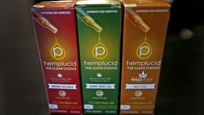 This is one of the CBD products for sale at Hoosier Vapor in Plainfield, seen Thursday, Nov. 30, 2017.  The store, which sells CBD oil products will likely pull the products in accordance with an order from the governor. Tiffany Jones, whose family owns the stores, has started an online petition in protest of that decision and has garnered more than 21,000 signatures in eight days. For now, they have all the products on clearance at their stores.
