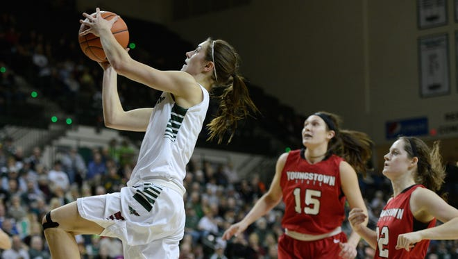 UWGB guard Kaili Lukan puts in a layup in the first half against Youngstown State in the Horizon League Championships semifinals at the Kress Events Center.