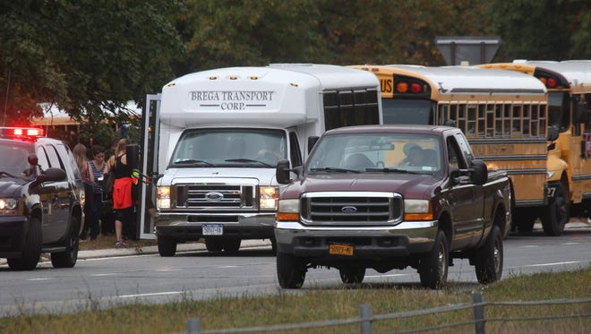 School bus accident on the Palisades Interstate Parkway, southbound, north of New Hempstead Road exit, Oct. 17, 2016. The buses were carrying students from Northern Valley Regional High School in Demarest, New Jersey. The students had taken a field trip to Woodmont Day Camp in New City.