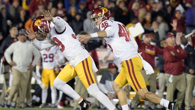 USC Trojans place kicker Matt Boermeester (39) celebrates kicking the game winning field goal against the Penn State Nittany Lions during the fourth quarter of the 2017 Rose Bowl game at Rose Bowl.