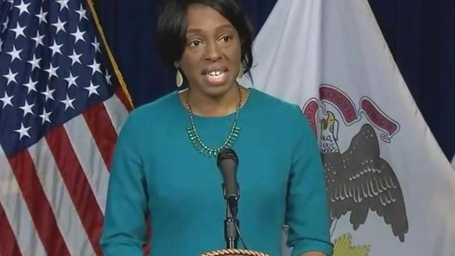 Illinois Department of Public Health Director Dr. Ngozi Ezike speaks at a COVID-19 briefing in April.