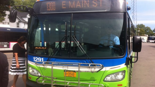 A bus painted in RGRTA's new blue-and-green color scheme.