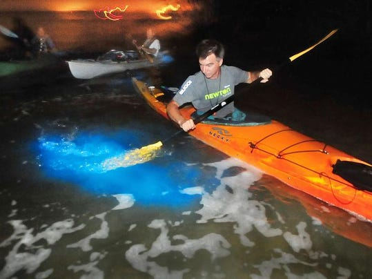 Mike Knight of Rockledge part of a group nine of kayakers on Mondays nights Space coast Bioluminescene Kayaking tour 'Guided