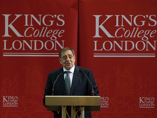 U.S. Defense Secretary Leon Panetta speaks at Kings College in London, England, on Jan. 18. Panetta is on a six-day